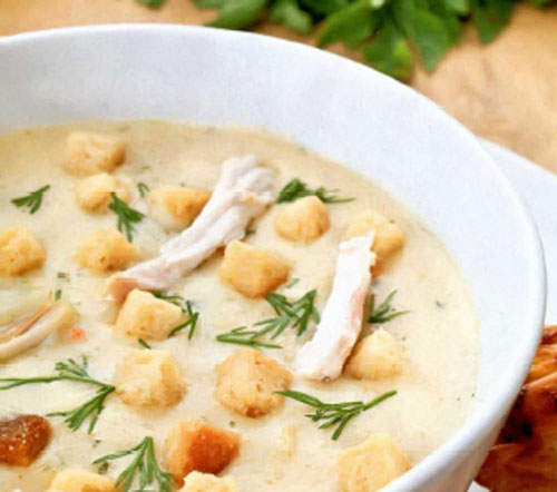 Сливочный куриный крем-суп из измельченных сушеных грибов