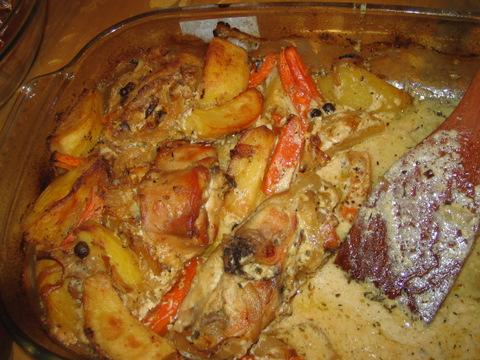 Кролик тушеный с картошкой в духовке