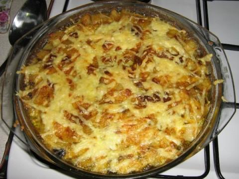картошка с мясом и грибами по французски в духовке