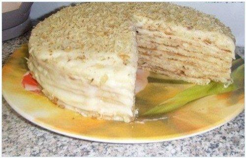 Торт на сковороде со сметаной наполеон