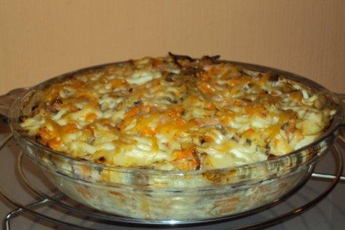 минтай запеченный с картошкой в духовке